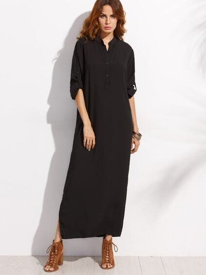 Black Button Front Roll Sleeve Maxi Shirt Dress