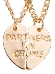 Golden Engraved Letters Heart-shaped Couple Necklace