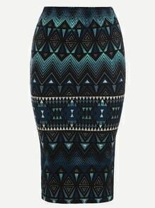 Navy Tribal Print Pencil Skirt