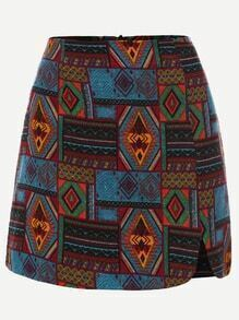 Multicolor Tribal Print A Line Skirt