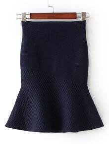 Navy High Waist Fishtail Skirt