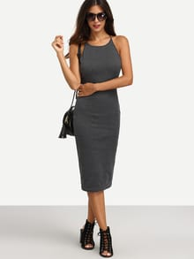 Grey Crisscross Backless Sleeveless Sheath Dress