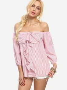 Blusa rayas lazo hombro al aire -rosa