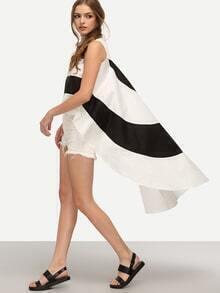 Blusa cremallera asimétrico -negro blanco