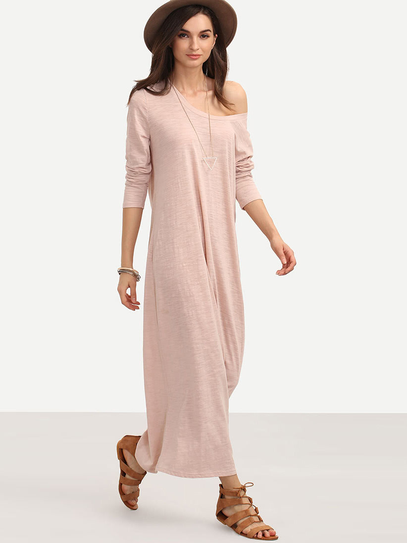 pink dress - Pink Casual Long Sleeve Shift Dress - $15.99