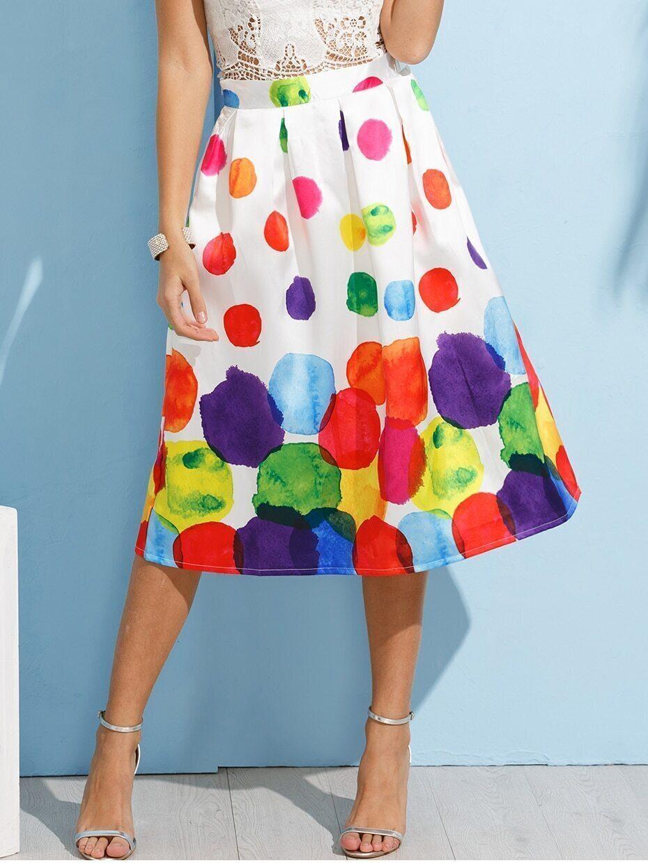 white paint circle print box pleated skirt