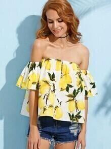 Yellow Lemon Print Off The Shoulder Blouse