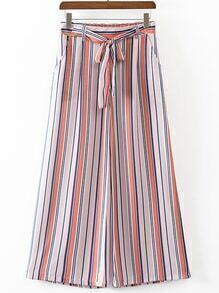 Multicolor Stripe Wide Leg Pants With Belt