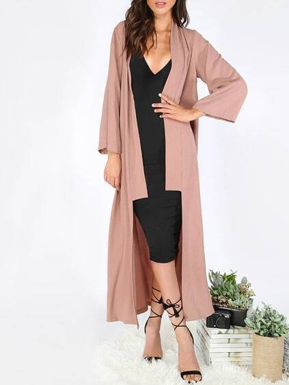 Brown Long Sleeve Lapel Cardigan Long Outerwear