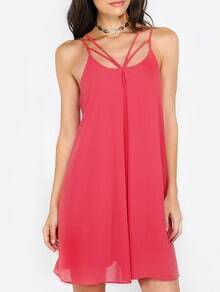Red Spaghetti Strap Cut Away Shift Dress