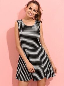 Navy Striped Sleeveless Backless Dress