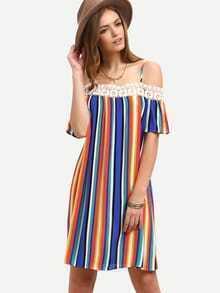 Multicolor Striped Off The Shoulder Shift Dress
