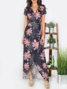 Multicolor Print Tie Waist Split Maxi Dress