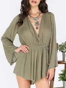 Buy Army Green V Neck Tie Jumpsuit