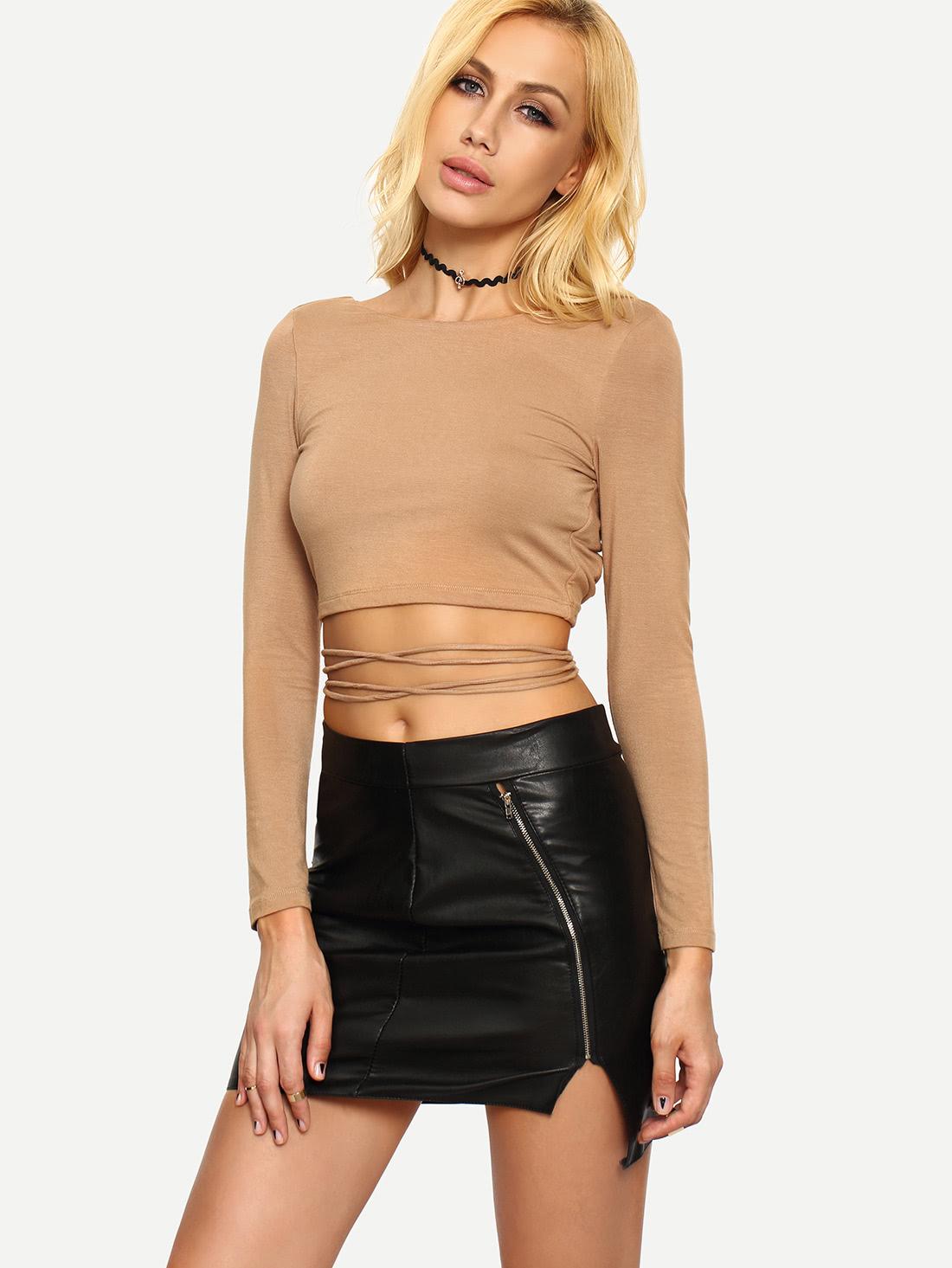 Dark Nude Long Sleeve Crisscross Crop T-shirt tee160418710