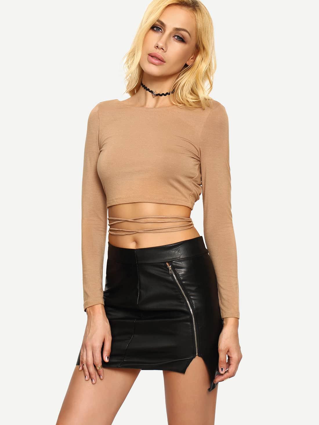 Dark Nude Long Sleeve Crisscross Crop T-shirt