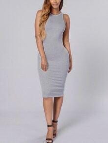Grey Backless Sheath Dress