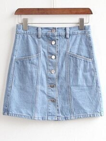 Blue Button Front A Line Denim Skirt
