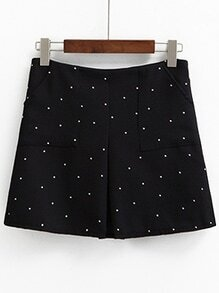 Black Polka Dot Print Pleat Front Skirt
