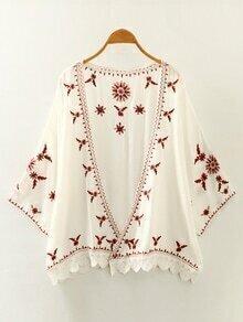 White Crochet Trim Embroidered Kimono