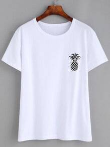 White Pineapple Print Drop Shoulder T-shirt