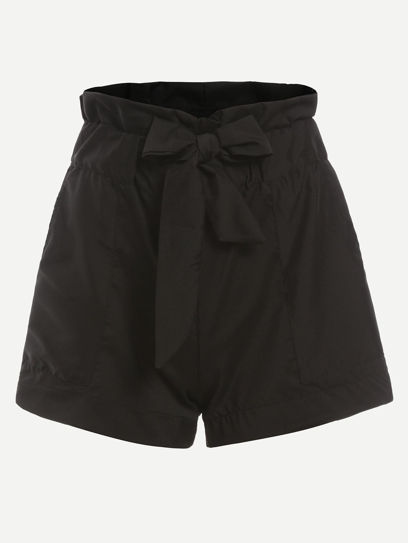 Black Ruffle Waist Self Tie Shorts