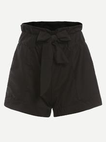 Short taille plissé avec ceinture - noir
