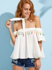 White Off The Shoulder Tassel Trimmed Top With Tie
