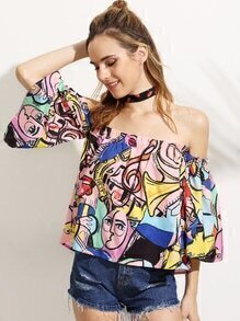 Pink Painting Print Off The Shoulder Blouse