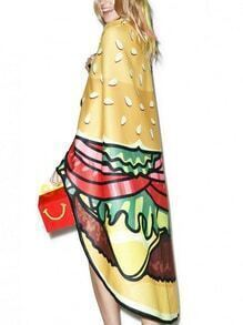 Multicolor Hamburger Print Chiffon Shawl