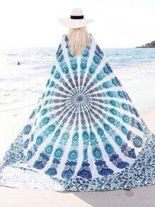 Blue Retro Print Chiffon Shawl
