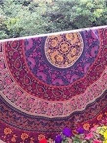 Hot Pink Vintage Print Circular Chiffon Shawl
