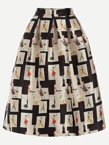 Apricot Graffiti Print Zipper Flare Skirt