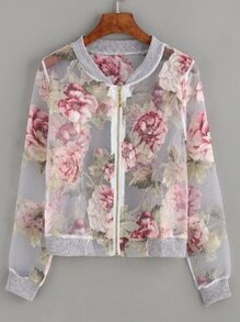 Floral Print Sheer Mesh Jacket