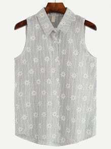 Grey Daisy Embroidered Sleeveless Blouse