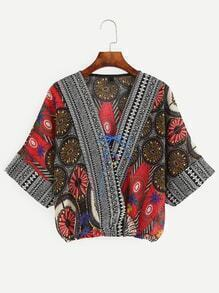 Red Random Tribal Print Lace Up Wrap Blouse