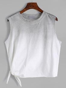 Grey Ombre Side Tie Sleeveless Top
