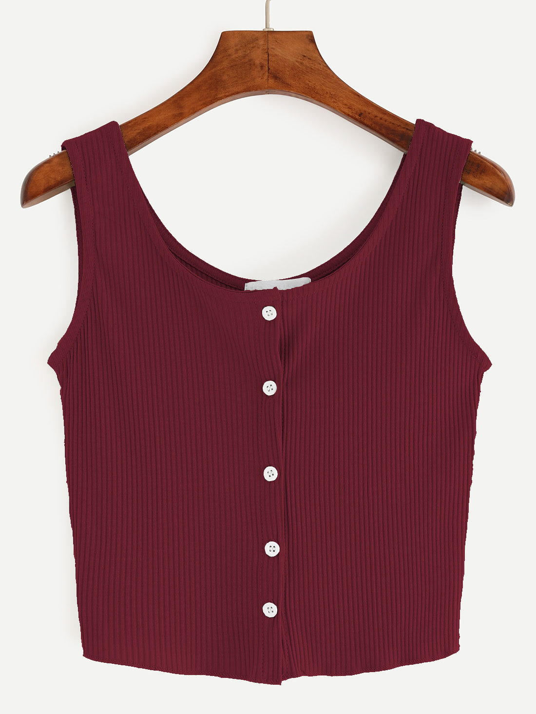 Burgundy Button Front Ribbed Tank Top
