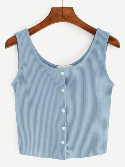 Blue Button Front Ribbed Tank Top