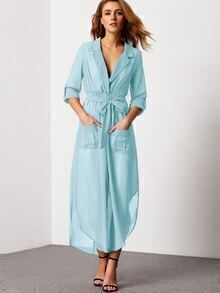 Blue Notch Lapel Belted Shirt Dress With Pocket
