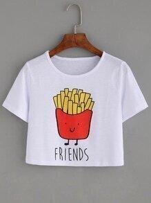 Camiseta patatas fritas crop - blanco