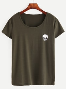 Olive Green Alien Print T-shirt