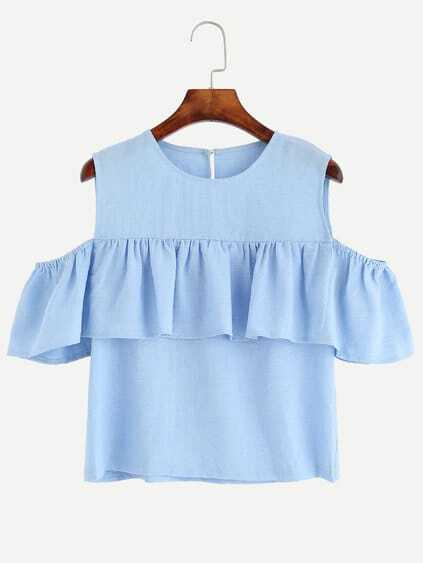 Blue Open Shoulder Ruffle Top