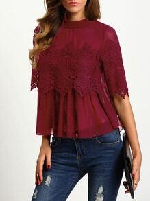 Blusa crochet overlay gasa - borgoña