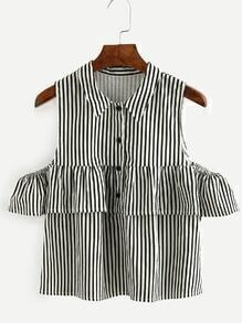 Contrast Striped Button Front Open Shoulder Ruffle Top