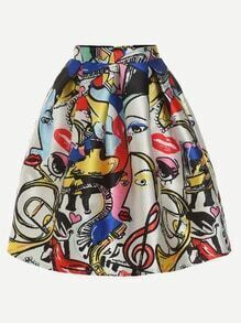 Multicolor Abstract Painting Print Box Pleated Skirt
