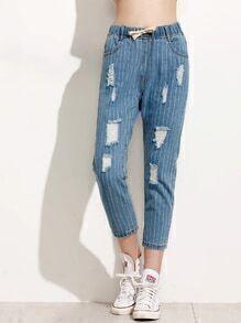Jeans mit vertikalen Streifen und Tunnelzug an der Taille - blau