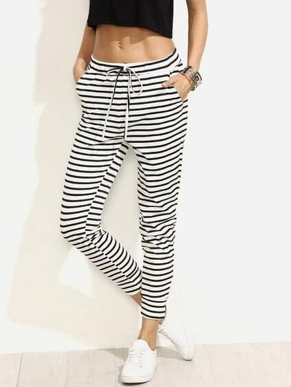 Black White Striped Drawstring Waist Pant