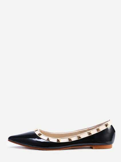 Black Pointed Toe Studded Flats