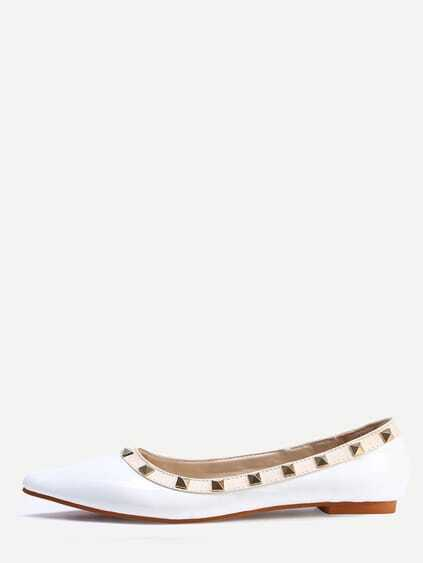 White Pointed Toe Studded Flats